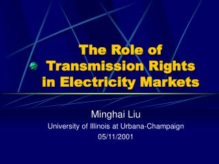 The Role of Transmission Rights in Electricity Markets