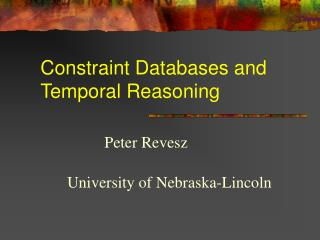 Constraint Databases and  Temporal Reasoning