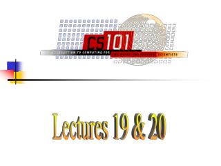 Lectures 19 & 20