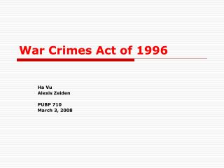 War Crimes Act of 1996