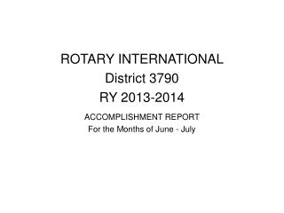 ROTARY INTERNATIONAL District 3790 RY 2013-2014