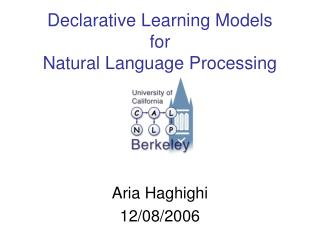 Declarative Learning Models for Natural Language Processing
