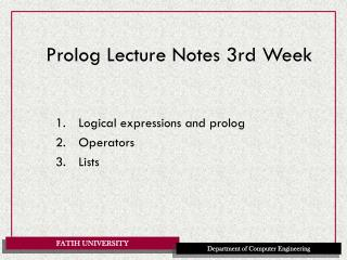 Prolog Lecture Notes 3rd Week