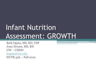 Infant Nutrition Assessment: GROWTH