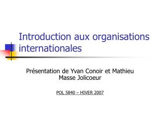 Introduction aux organisations internationales