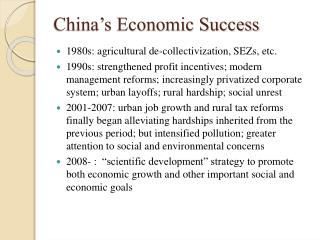 China's Economic Success