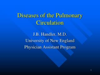Diseases of the Pulmonary Circulation
