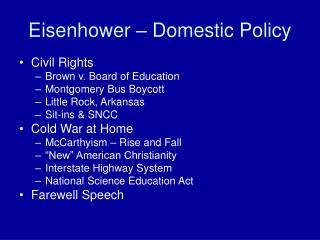 Eisenhower – Domestic Policy