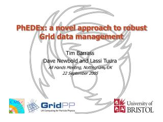 PhEDEx: a novel approach to robust Grid data management