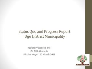 Status Quo and Progress Report   Ugu District Municipality