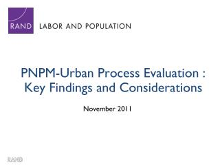 PNPM-Urban Process Evaluation : Key Findings and Considerations