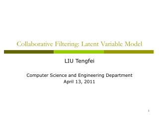 Collaborative Filtering: Latent Variable Model