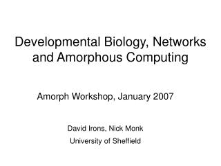 Developmental Biology, Networks and Amorphous Computing