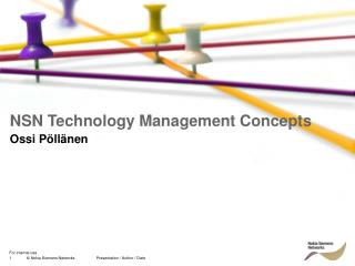 NSN Technology Management Concepts