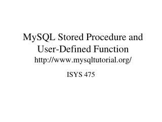 MySQL Stored Procedure and User-Defined Function mysqltutorial/
