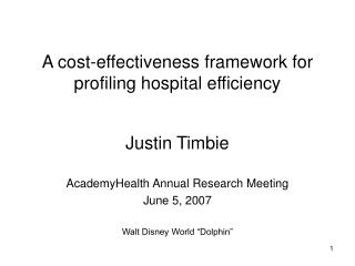 A cost-effectiveness framework for profiling hospital efficiency