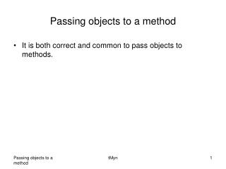 Passing objects to a method