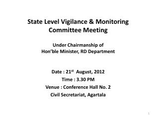 State Level Vigilance & Monitoring Committee Meeting
