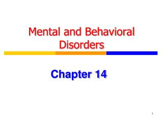 Mental and Behavioral Disorders