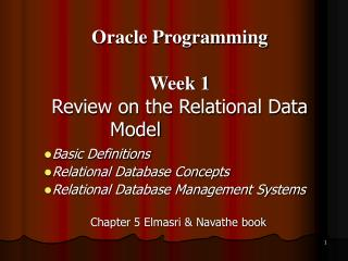 Basic Definitions Relational Database Concepts Relational Database Management Systems