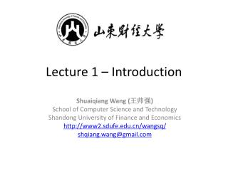 Lecture 1 – Introduction