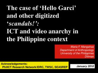 The case of 'Hello Garci' and other digitized ' scandals!':