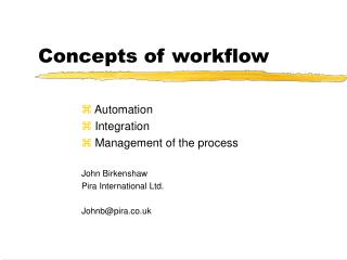 Concepts of workflow