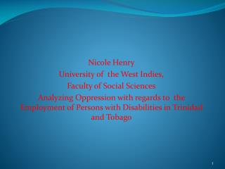 Disability and Unemployment in Trinidad and Tobago