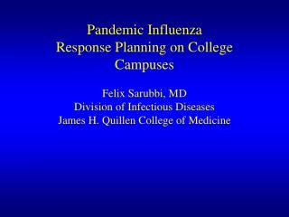 Pandemic Influenza Planning Colleges and Universities