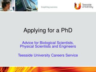 Applying for a PhD