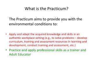 What is the Practicum?