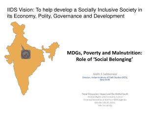 MDGs, Poverty and Malnutrition: Role of 'Social Belonging'