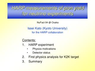 HARP measurements of pion yield for neutrino experiments