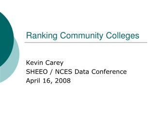 Ranking Community Colleges