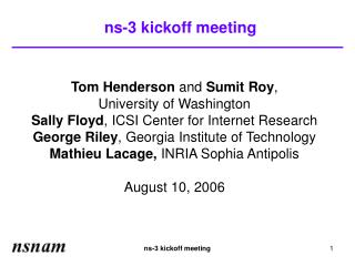 ns-3 kickoff meeting