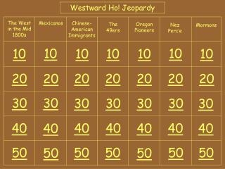 Westward Ho! Jeopardy