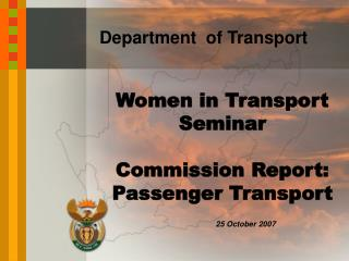 Women in Transport Seminar Commission Report: Passenger Transport