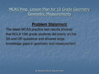 MCAS Prep. Lesson Plan for 10 Grade Geometry  Geometric Measurements