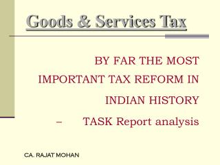 Goods & Services Tax