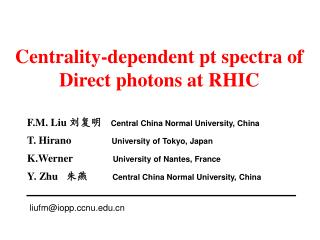 Centrality-dependent pt spectra of Direct photons at RHIC