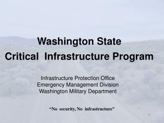 Washington State  Critical  Infrastructure Program
