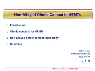 Non-Alloyed Ohmic Contact in HEMTs