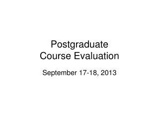 Postgraduate Course Evaluation