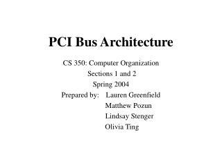 PCI Bus Architecture
