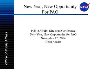 New Year, New Opportunity For PAO