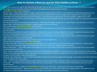 How to choose a Best car seat for Kids,Toddlers,Infants ?