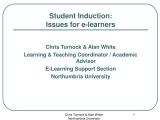 Student Induction:  Issues for e-learners