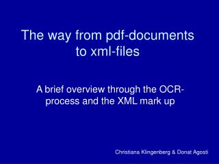 The way from pdf-documents to xml-files