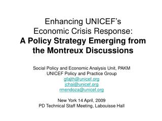 Social Policy and Economic Analysis Unit, PAKM  UNICEF Policy and Practice Group gfajth@unicef