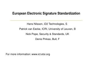 European Electronic Signature Standardization